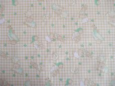 Bedtime bears moon stars  cream & green print poly cotton fabric sold per metre
